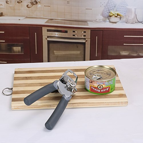 Can Opener, Best Manual Can Opener Smooth Edge Good Grips with Built-in Bottle Opener - Hand Held Stainless Steel Can Opener by Catnee (Image #5)