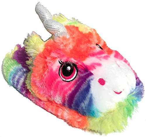 Rainbow Plush Emoji Unicorn Slippers Medium 13-1