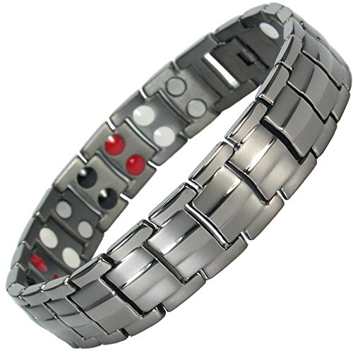 IonTopia Zeus Titanium Magnetic Therapy Bracelet Gunmetal with Free Links Removal ()