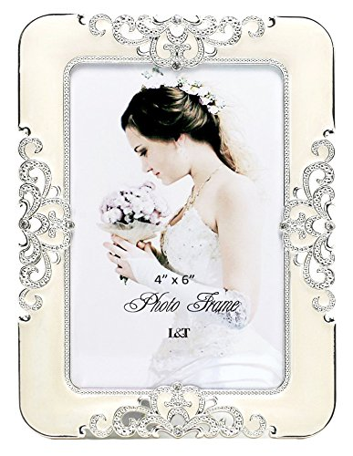 L&T Eternity Picture Frame Silver Metal with Ivory Enamel and Crystals 4 x 6 Inch ()