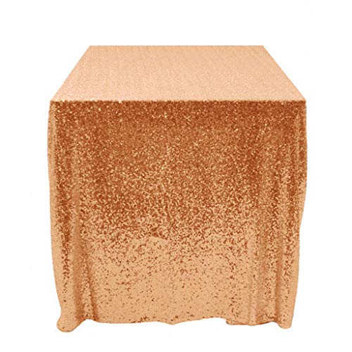 (ShiDianYi Choose Your Sizes ~50''x50 Rose Gold Sequin Overlay Sparkly Rose Gold Sequin Tablecloth Glitz Sequined Table Linen Glittery 6 Ft Table Wholesale Linens Rose Gold)