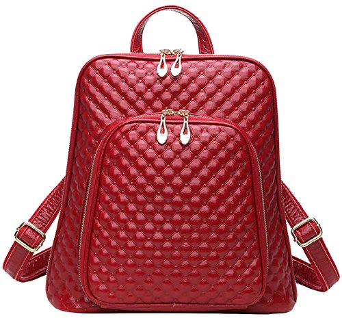 Coolcy New Fashion Women's Genuine Leather Backpack Casual Shoulder Bag (Red)