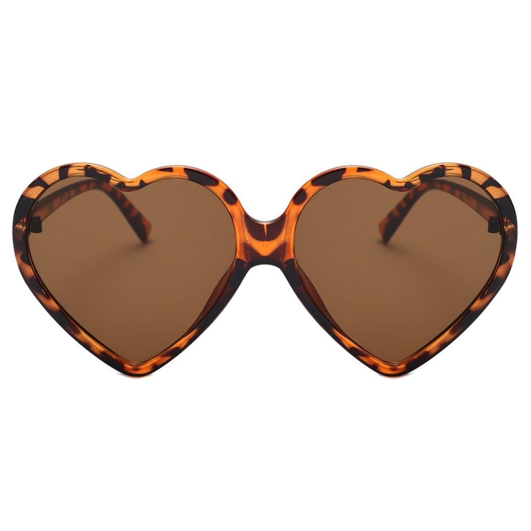 Lavany Women's Sunglasses,Vintage Heart-shaped Frame Sunglasses Stylish UV yewear (Brown)