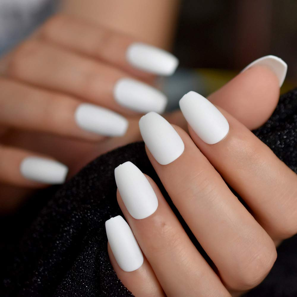 Amazon.com  Coffin Fake Nails Matte White Frosted Press On