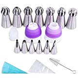 YUJUE 38 pcs ,Russian Piping Tips Set,Icing Tips Cake Decoration Tips, 7 NEW Russian Ball Tips, 6 Russian Piping Nozzles, 3 Couplers, 1 Silicone Bag,1 Brush and 20 Disposable Pastry Bags.