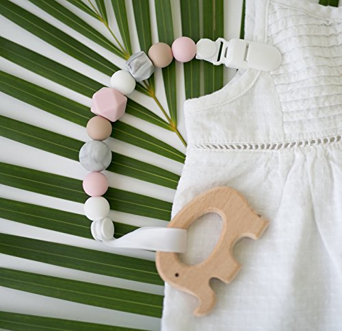 Pacifier Clip - 2 in 1 - Modern and Trendy - Teething Silicone Beads with Unique Shapes - Best for Teether Toys, Stuffed Animals, Soothie/MAM, Infant Blankets & Drool Bibs - Girl's Binky Holder by Little Sprouts (Image #3)