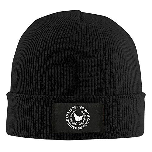 CustomHK Cool Beanie Life Is Better With Chickens Around Knit Cap Black