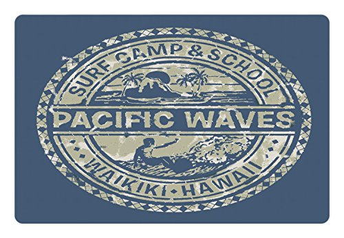 Modern Pet Mats for Food and Water by Ambesonne, Pacific Waves Surf Camp and School Hawaii Logo Motif with Artsy Effects Design, Rectangle Non-Slip Rubber Mat for Dogs and Cats, Khaki Slate Blue (Surf Waves Camp)