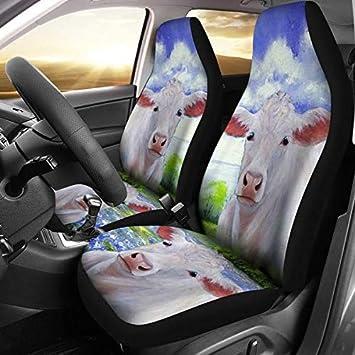 Marvelous Amazon Com Charolais Cattle Cow Print Car Seat Covers Frankydiablos Diy Chair Ideas Frankydiabloscom