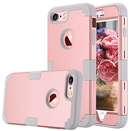 iPhone 7 Case, AOKER Shockproof Hybrid Heavy Duty High Impact Hard Plastic+Soft Silicon Rubber Armor Defender Case Cover for Apple iPhone 7 4.7 Inch (2016) (Rose Gold+Grey)