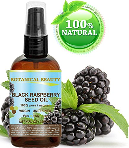BLACK RASPBERRY SEED OIL. 100 Pure Natural Undiluted Virgin Unrefined Cold Pressed Carrier oil. 4 Fl.oz.- 120 ml. For Skin, Hair, Lip and Nail Care. One of the highest antioxidants, rich in vitamin A and E, Omega 3, 6 and 9 Essential Fatty Acids