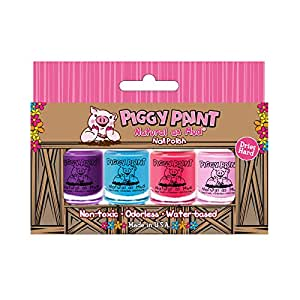 Piggy Paint Nail Polish- 4 Bottle Box- Non-toxicColors may vary from image based on Availbilty)