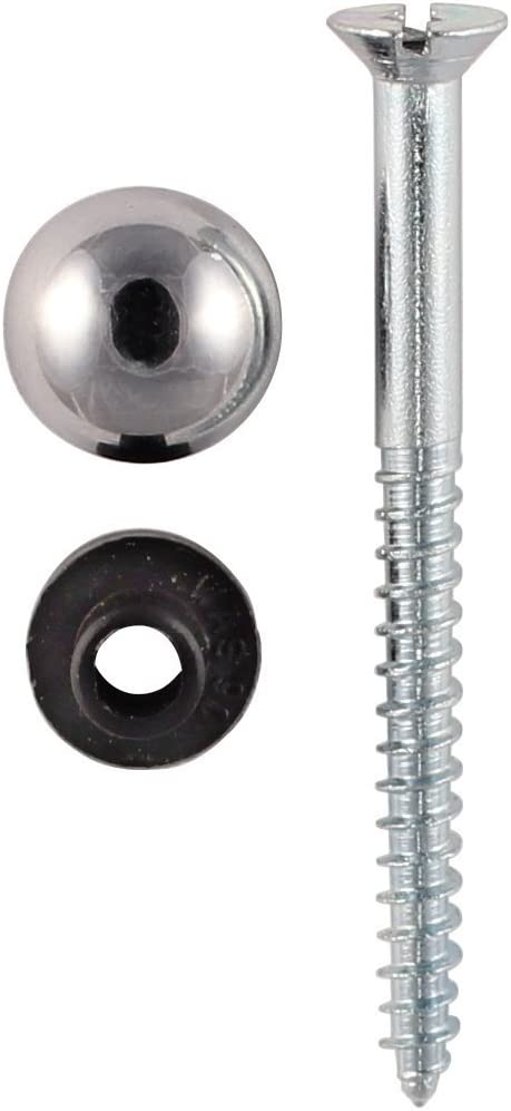"12 x 1.5/"" x 8g MIRROR SCREWS WITH 12 x CHROME DOME CAPS /& 12 x RUBBER GROMMETS *"