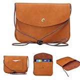 """Universal Cell Phone Cross-body Purse,Mini Phone Shoulder Bag Soft PU Leather Carrying Cases for Apple iPhone 6s/6 Plus iPhone 6/6s,Samsung Galaxy S6 and Note Series and Phones Under 5.5""""-Brown"""