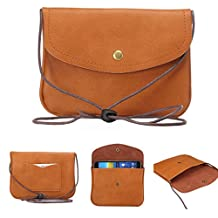 "Universal Cell Phone Cross-body Purse,Mini Phone Shoulder Bag Soft PU Leather Carrying Cases for Apple iPhone 6s/6 Plus iPhone 6/6s,Samsung Galaxy S6 and Note Series and Phones Under 5.5""-Brown"