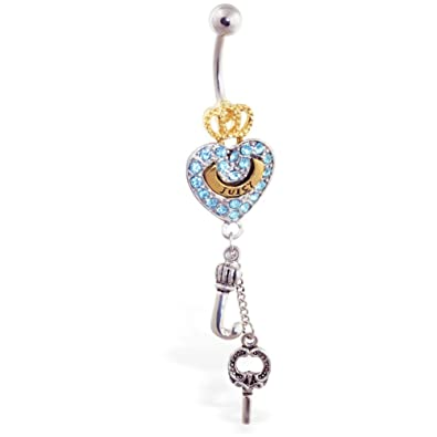 Amazon Com Mspiercing Jeweled Gold Plated Crown And Heart Navel