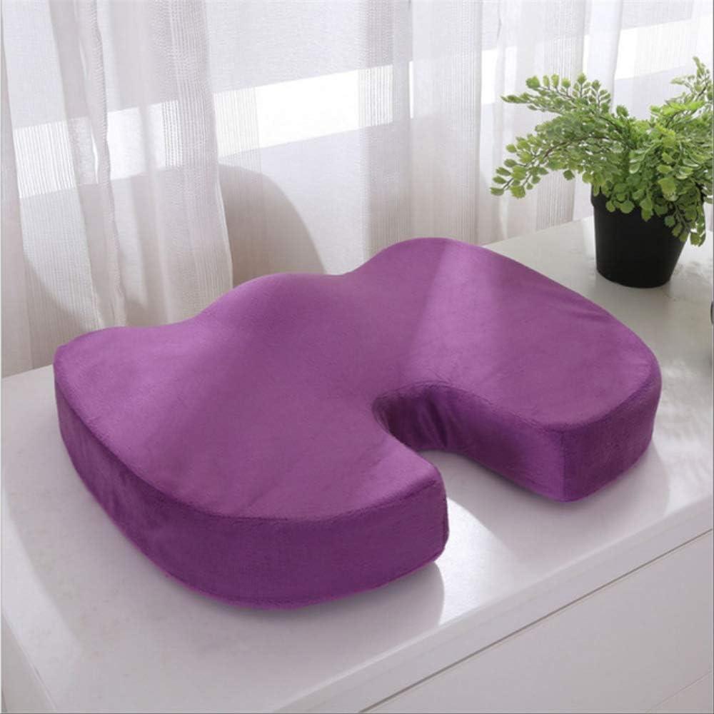 Cojín de asiento para el dolor, almohadilla ortopédica con asiento de espuma de memoria U, almohada para silla de alivio del dolor de espalda, para oficina, hogar, silla de ruedas 40x40cm púrpura