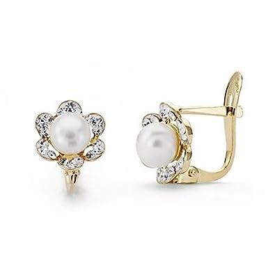 c1db1a6b8d24 Pendientes oro 9k flor centro perla circonitas 8mm. comunión  AA7525    Amazon.es  Joyería