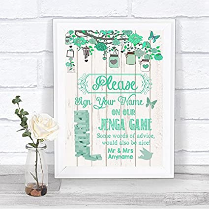 Verde rústico madera efecto juego Jenga mensaje personalizado boda cartel impresión, Large A3: Amazon.es: Oficina y papelería