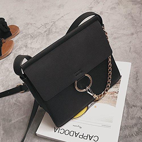 AASSDDFF Nueva Moda Nubuck Bolso de Las Señoras Bolsa de Hombro de Alta Calidad Mujeres Messenger Bag Ring Cadenas Mujeres Bolso de Crossbody,Negro Negro