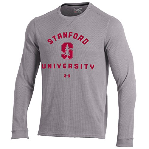 Gear Stanford Cardinal (Under Armour NCAA Stanford Cardinal Men's Waffle Knit Long Sleeve Tee, Medium, True Grey Heather)
