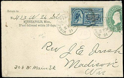 1891 Minneapolis MN - Madison WIS, SPECIAL DELIVERY, SC #E2, SCV $135 on Cover!