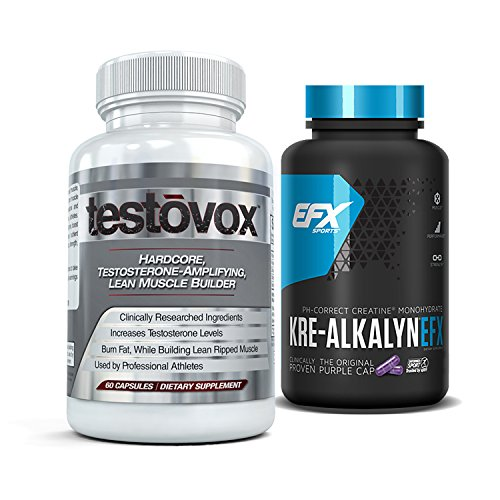 Professional Muscle Building - Kre-Alkalyn (240 Capsules) & Testovox (60 Capsules) - High Performance Muscle Building Combo. Professional Strength Bodybuilding Supplement Stack by EFX Kre-Alkalyn