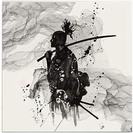 Hjyi Impression Sur Toile Peinture A Lhuile Noir Et Blanc Samourai Japonais Peinture Ordinateur Jet Dencre Decoratif Dessin Sans Bordure Studiovitorcampos Com Br