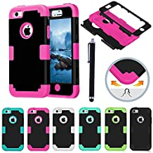 TKOOFN [3 in 1] Combo Color Hybrid Silicon Full Body Protective Hard Case for Apple iPhone 5C + Stylus Pen ,Black + Rose