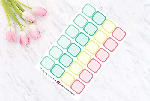 2x Label Boxes for Hobonichi Weeks Planners Functional Planner Stickers in Pastel Colours