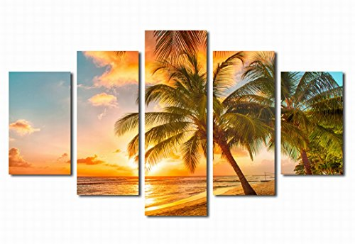 Canvas Prints Wall Art Sunset Sea Beach Coconut Palm Tree 36'' x 60'' - 5 Pieces Large Framed Canvas Art Contemporary Sun Seascape Picture Modern Artwork Canvas Painting for Home Office Decoration by yearainn
