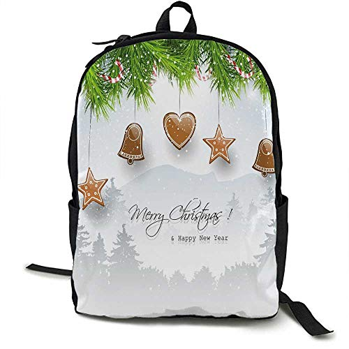Christmas Light travel backpack Gingerbread Cookies Hanging from Fir Branches Forest Silhouette Multi-functional daily carrying 16.5 x 12.5 x 5.5 Inch Light Brown Green Light Grey -