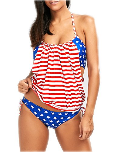 Wapaaw Womens July 4th Red White Blue Stars Strips American Flag Bikini Set Two Pieces Swimsuit New Style 1 (2XL)