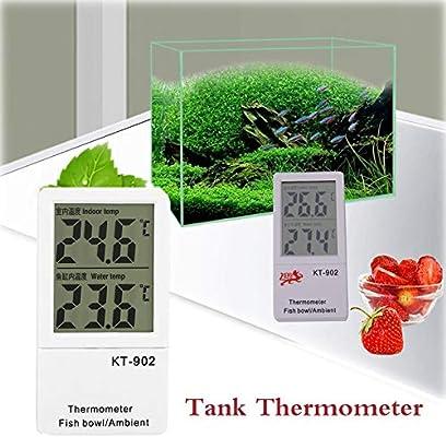 Hanyoug Medidor Digital de Temperatura Dual para termómetro de Tanque de Peces para Interiores y acuarios LCD: Amazon.es: Productos para mascotas