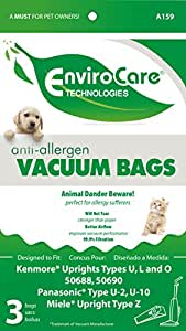EnviroCare Kenmore Upright Type u, L and O Allergen Filtration Cloth Vacuum Cleaner Bags, Fits Style 50688 and 50690, Pack of 3
