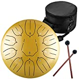 10 Inch 11 Notes Steel Tongue Drum Highest Quality D Major Percussion Hang Drum Instrument Padded Travel Bag and Mallets Included Yoga Meditation Music Therapy Lotus Gold