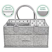 Upsy Diaper Storage Caddy Organizer - Large Baby Shower Basket - Nursery Storage Bin and Portable Car Organizer for Cloth, Wipes and Toys - Newborn Diaper Tote Bag