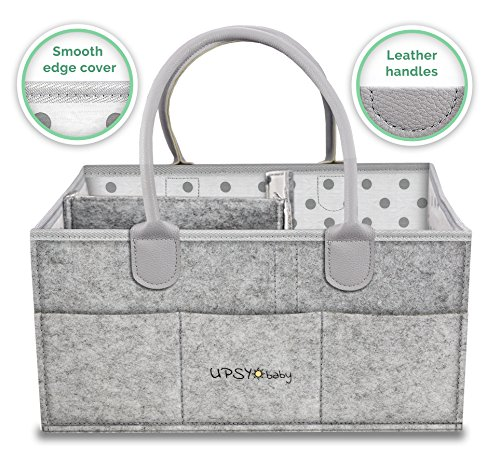 Upsy Diaper Storage Caddy Organizer - Large Baby Shower Basket - Nursery Storage Bin and Portable Car Organizer for Cloth, Wipes and Toys - Newborn Diaper Tote Bag by UPSYbaby