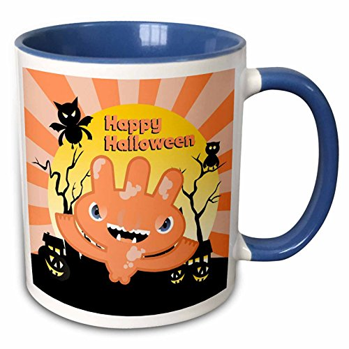 3dRose Belinha Fernandes - Halloween Celebration - Happy Halloween message and pale pink funny monster with owl and bat at night - 15oz Two-Tone Blue Mug (mug_125911_11)