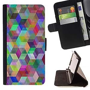 Momo Phone Case / Flip Funda de Cuero Case Cover - Patrón Geometría del arco iris;;;;;;;; - Sony Xperia M4 Aqua
