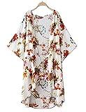 LuckyMore Women's Floral Chiffon Maxi Long Kimono Cardigan Beach Cover up Boho Top White XXL