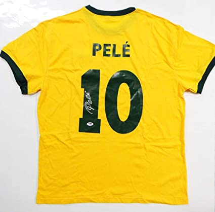 47c825afb63 Image Unavailable. Image not available for. Color: Pele Autographed Brazil  CBD Yellow Soccer Jersey- PSA/DNA ...