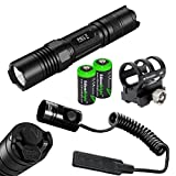 NITECORE P10 800 Lumen high intensity CREE XM-L2 LED specialized tactical duty Strobe Ready compact flashlight, RSW2 Pressure Switch and GM02 Weapon Mount with 2X EdisonBright CR123A Lithium Batteries bundle