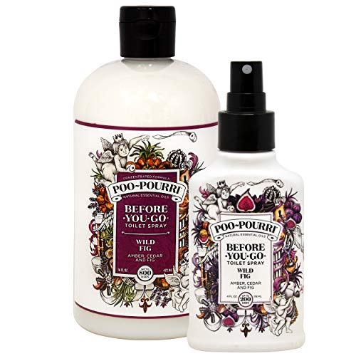 Poo-Pourri Wild Fig Before You Go Toilet Spray 16 Ounce Refill Bottle and Wild Fig 4 Ounce