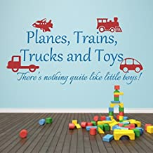 Wall Decal Decor Planes Trains Trucks Toys Wall Sticker Children Playroom Decal Baby Bedroom Boy Room Vinyl Home Play Art Decor(Small,Toys-Tomato Red;Words-Teal)