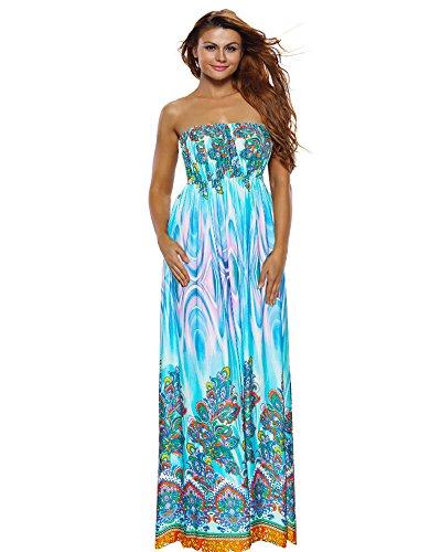 Roiii Vintage Women Summer Sleeveless/Half Sleeve Dress, Boho Floral Long Casual Party Plus Size Maxi Dress