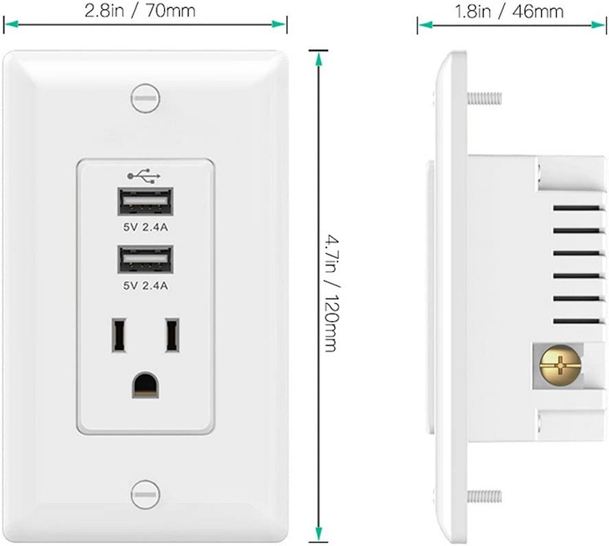 Standard Outlet Dual USB Ports Wall Mount Power Plate Receptacle Rating 60Hz White 15A 125VAC