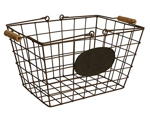 Wald Imports Wire Market Basket with Chalkboard, Medium, Brown