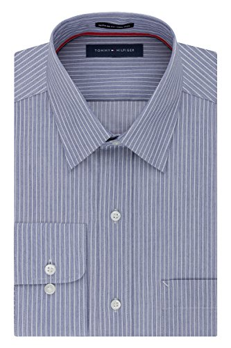 Tommy Hilfiger Men's Pinpoint Regular Fit Solid Button Down Collar Dress Shirt, 17