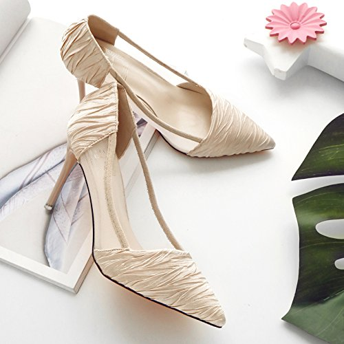 heeled Shoes Shallow High with Fine Mesh Sandals Pointed Beige MOM Wild temperament OL Shoes mouth gwCUqXWF